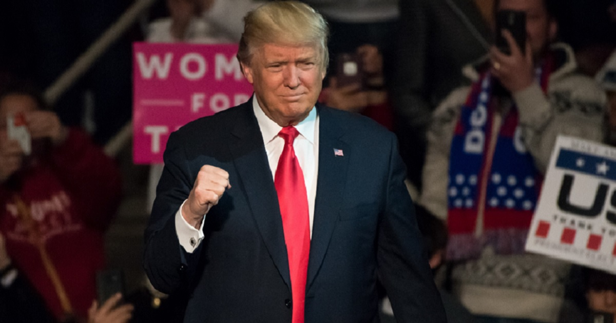 Donald Trump pumps a fist in a file photo from a 2016 campaign event in Hershey, Pennsylvania.