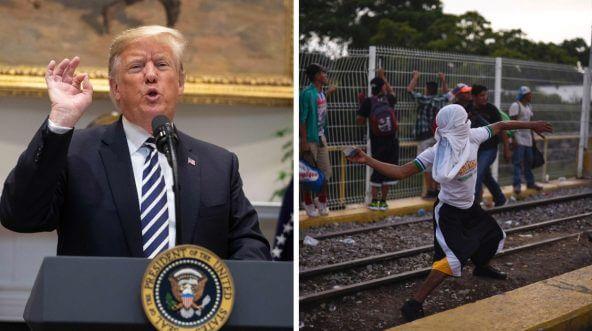 Trump vs. Caravan rock throwers