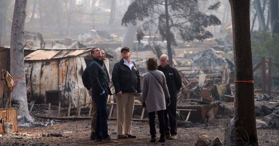 Trump surveys wildfire damage