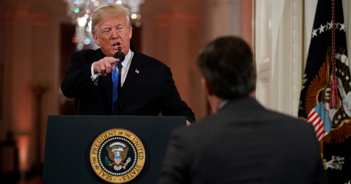 President Donald Trump speaks to CNN journalist Jim Acosta during a news conference in the East Room of the White House on Nov. 7, 2018, in Washington.