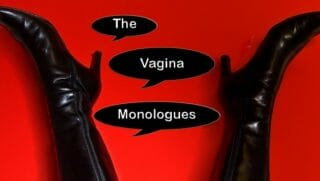 "The words ""The Vagina Monolgues"" written in dialogue boxes."