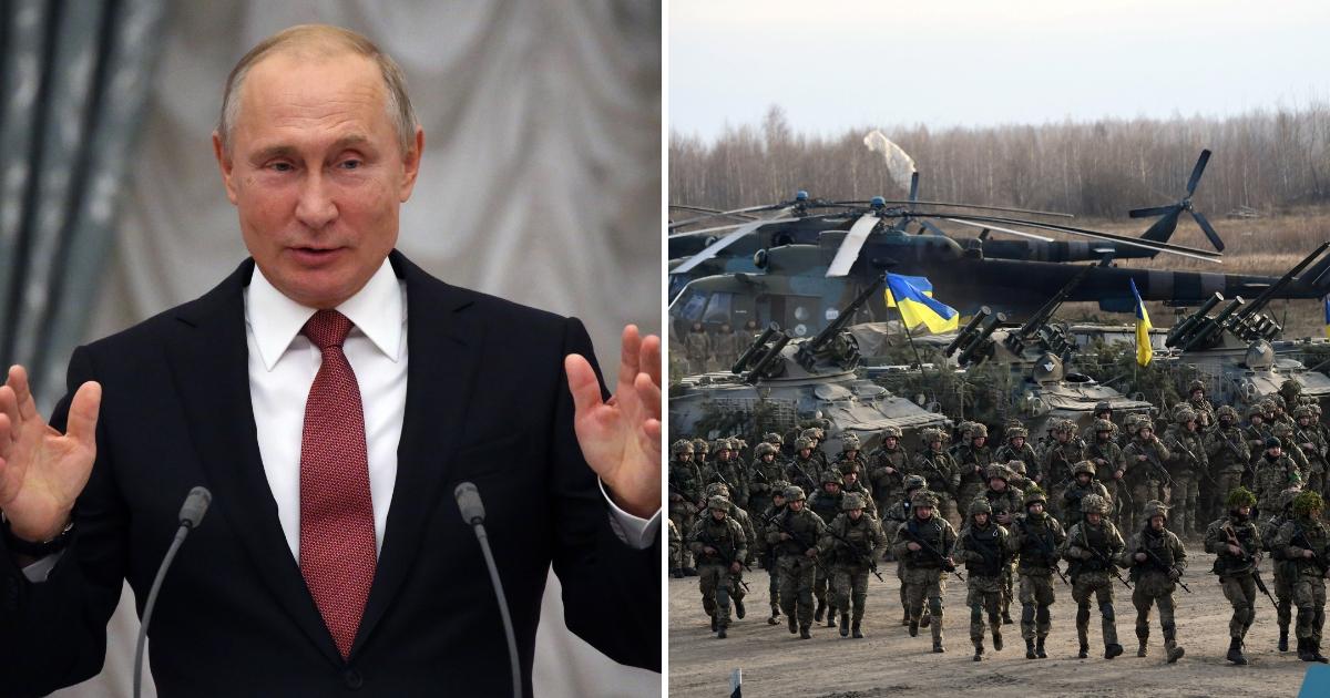 Vladimir Putin, left, Ukrainian troops, right.