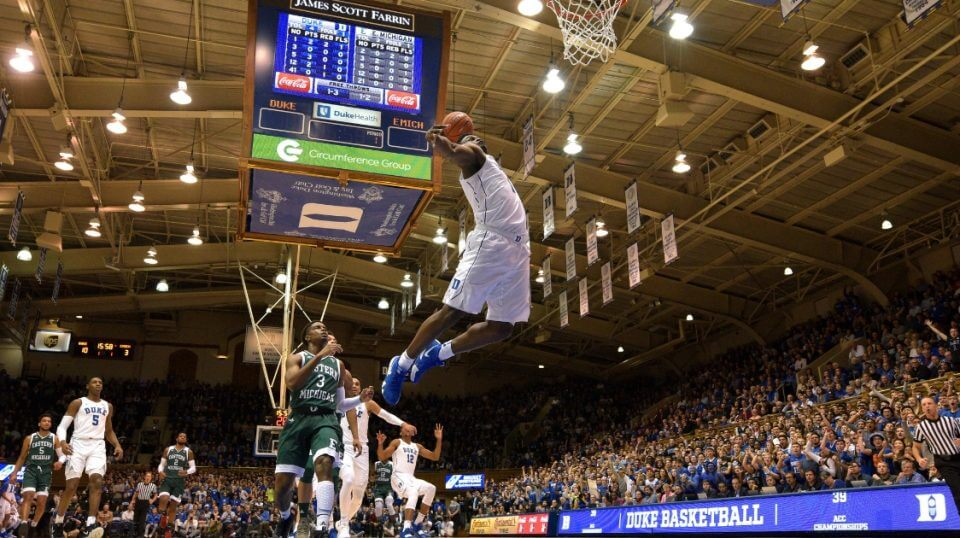 Zion Williamson of the Duke Blue Devils goes up for a dunk against Eastern Michigan at Cameron Indoor Stadium on Wednesday.