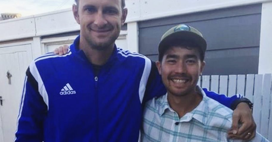 In this October 2018 photo, American adventurer John Allen Chau, right, stands for a photograph with Founder of Ubuntu Football Academy Casey Prince, 39, in Cape Town, South Africa, days before he left for in a remote Indian island of North Sentinel Island, where he was killed.