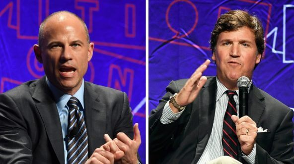 Attorney Michael Avenatti (left) and Fox News anchor Tucker Carlson (right) speak on different panels at Politicon 2018.