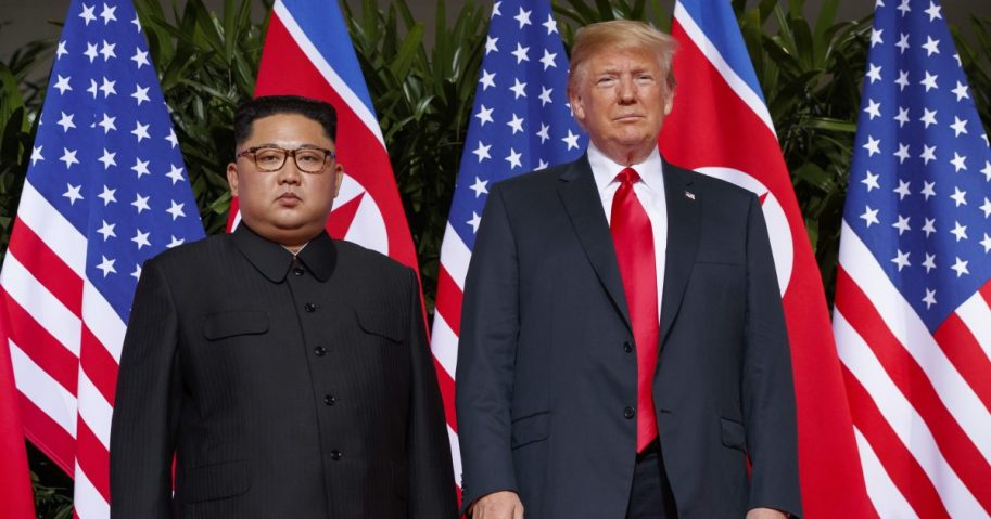 In this June. 12, 2018, file photo, U.S. President Donald Trump, right, meets with North Korean leader Kim Jong Un on Sentosa Island, in Singapore. North Korea has warned on Friday, Nov. 2, 2018, it could revive a state policy aimed at strengthening its nuclear arsenal if the United States does not lift economic sanctions against the country.