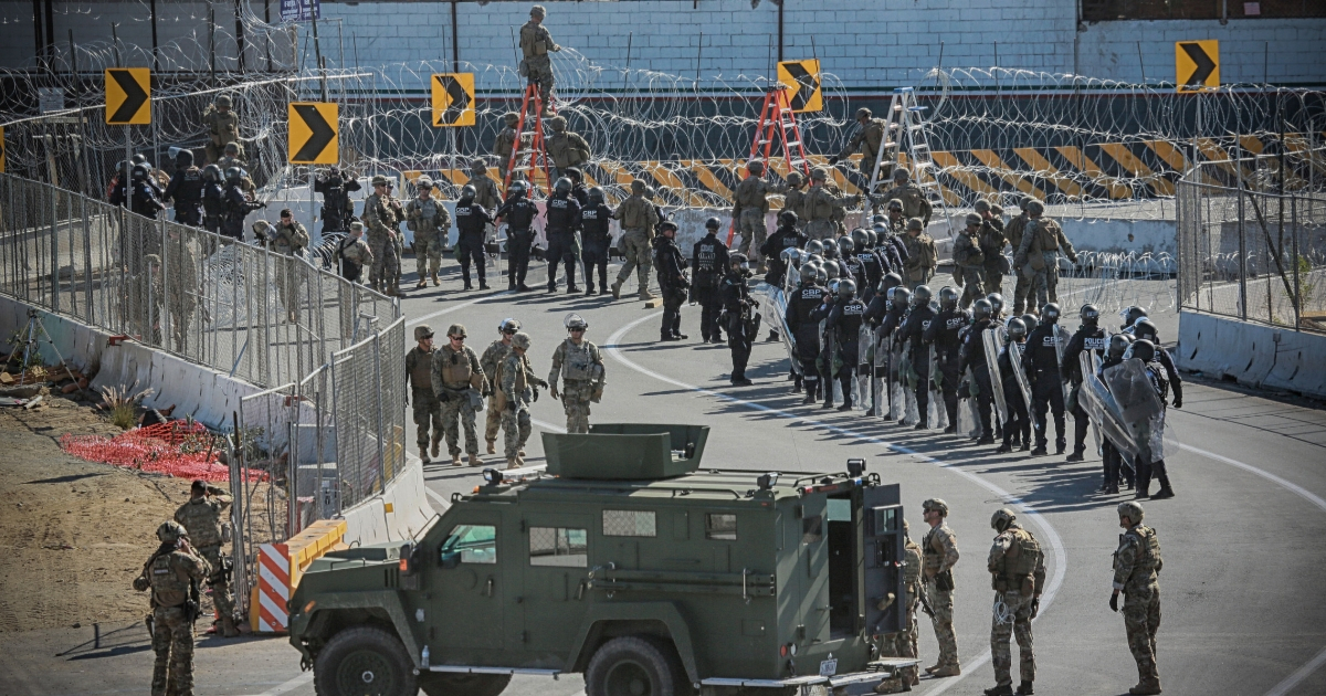 United States Military personnel and Border Patrol agents secure the United States-Mexico border on November 25, 2018.