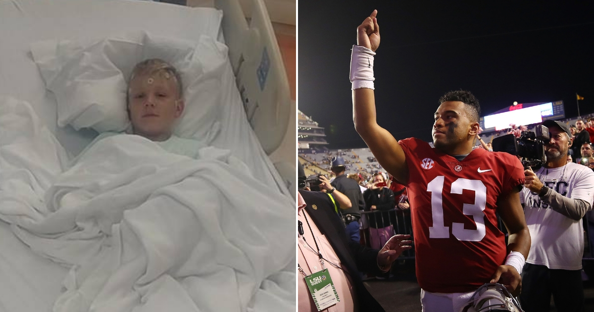 College Football Star Prays with Little Boy Battling Brain Cancer