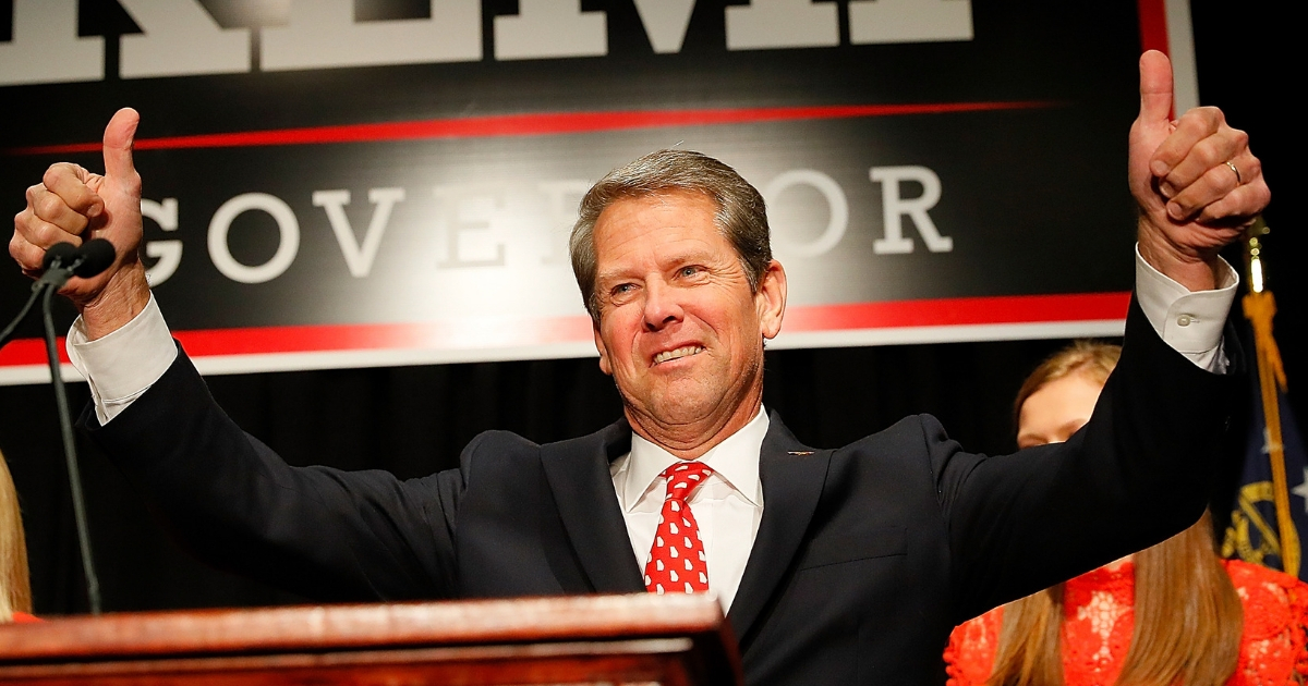 Republican gubernatorial candidate Brian Kemp attends the Election Night event at the Classic Center on November 6, 2018.