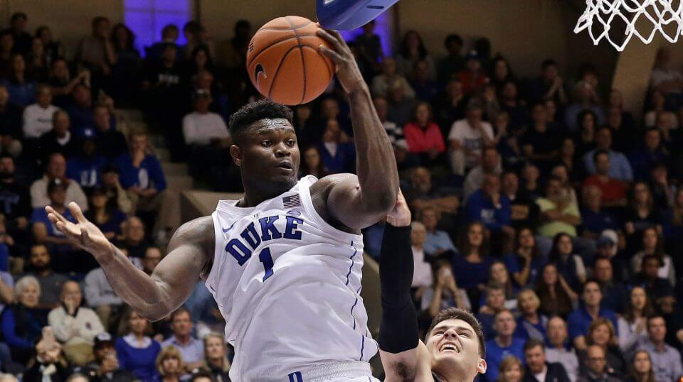 Duke's Zion Williamson looks toward the basket while Army's Tommy Funk defends during the second half of their game Sunday in Durham.