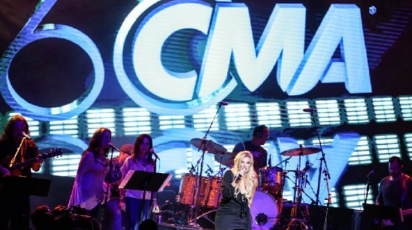 Singer Julie Roberts performs during the CMA's 60th Anniversary Celebration at Wildhorse Saloon on Sept. 26, in Nashville.