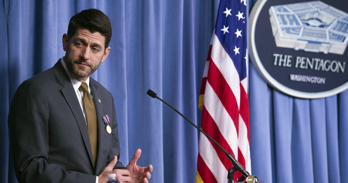 Paul Ryan speaks at the Pentagon