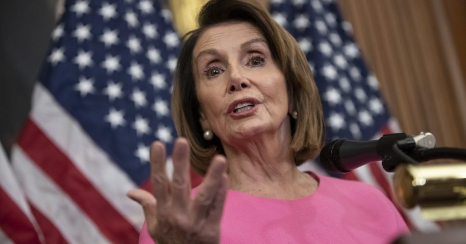 House Minority Leader Nancy Pelosi speaks in during a news conference on Capitol Hill in Washington.