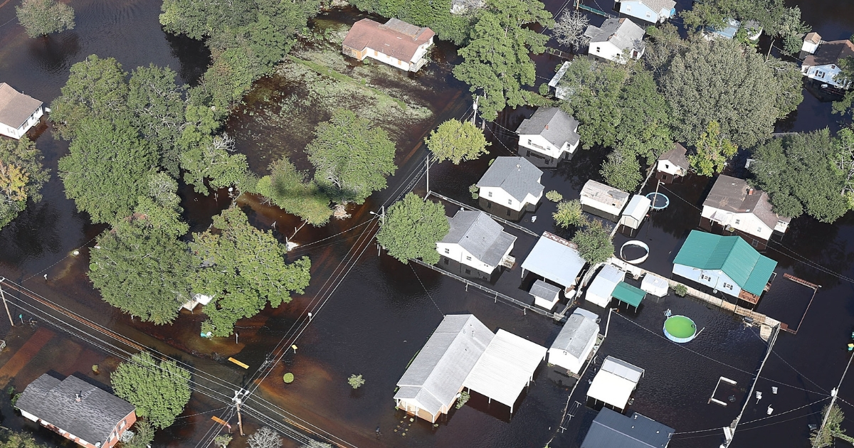 Houses under water from Hurricane Florence.
