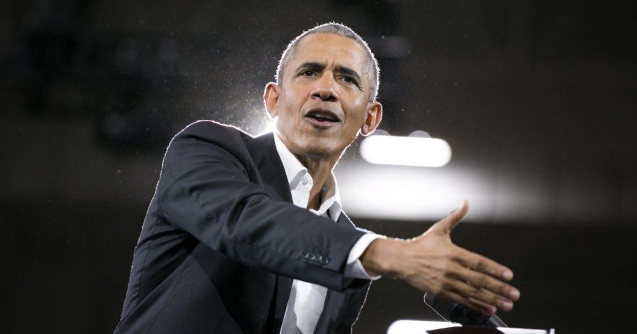 Former US President Barack Obama addresses the crowd