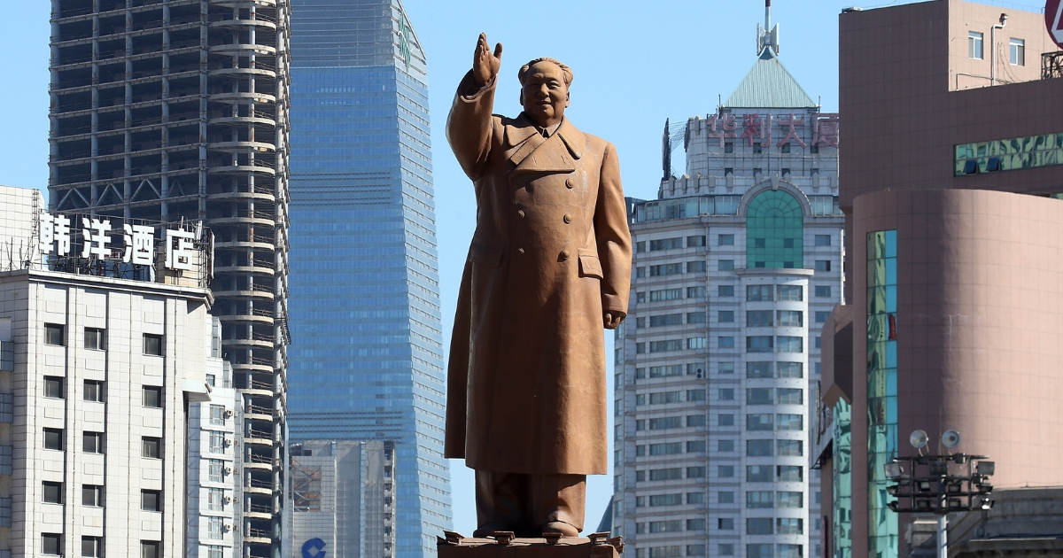 The Mao Zedong statue in a central square of Shenyang's city.