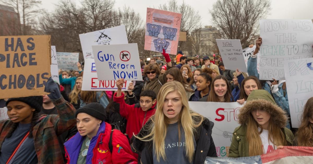 Teens marching in Washington, D.C.