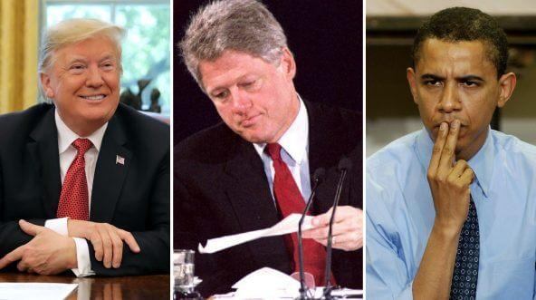 Donald Trump, left, Bill Clinton, center, Barack Obama, right.