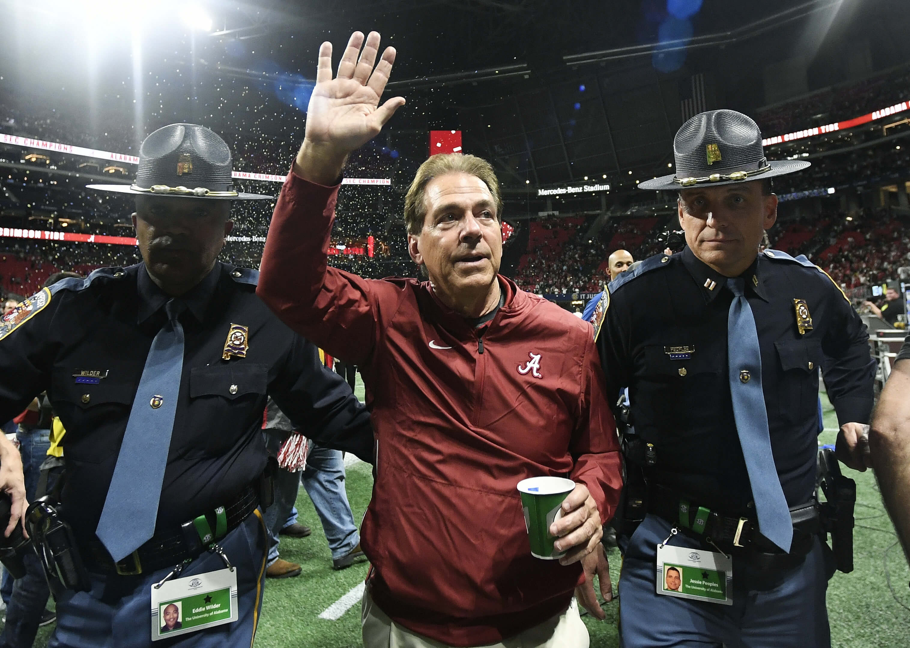 Alabama head coach Nick Saban leaves the field after the Southeastern Conference championship game Dec. 1 against Georgia.