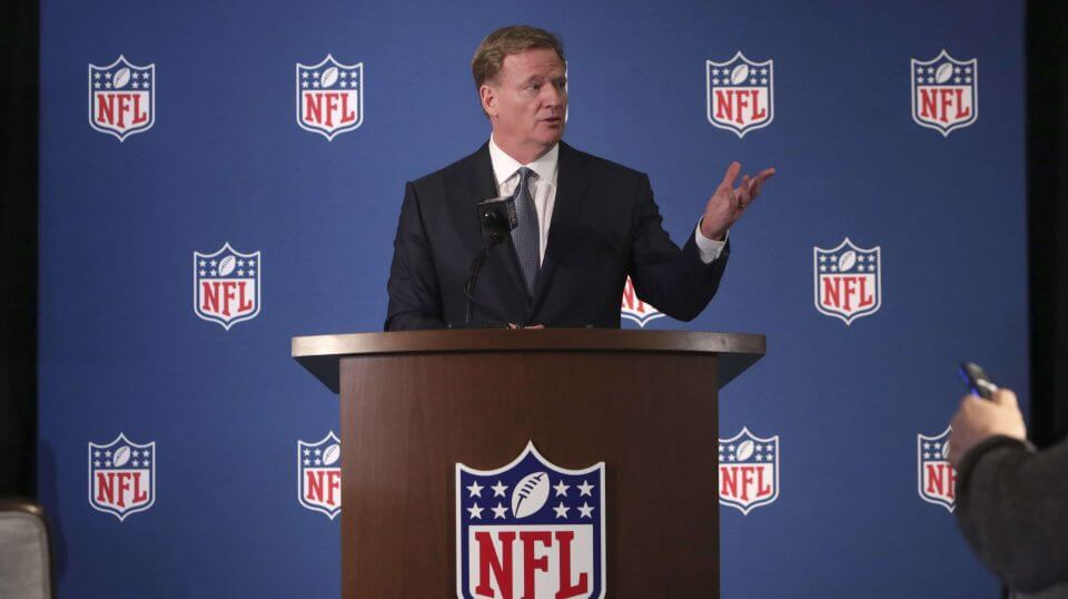 NFL Commissioner Roger Goodell speaks during a news conference after the leagues' meeting in Irving, Texas, on Wednesday