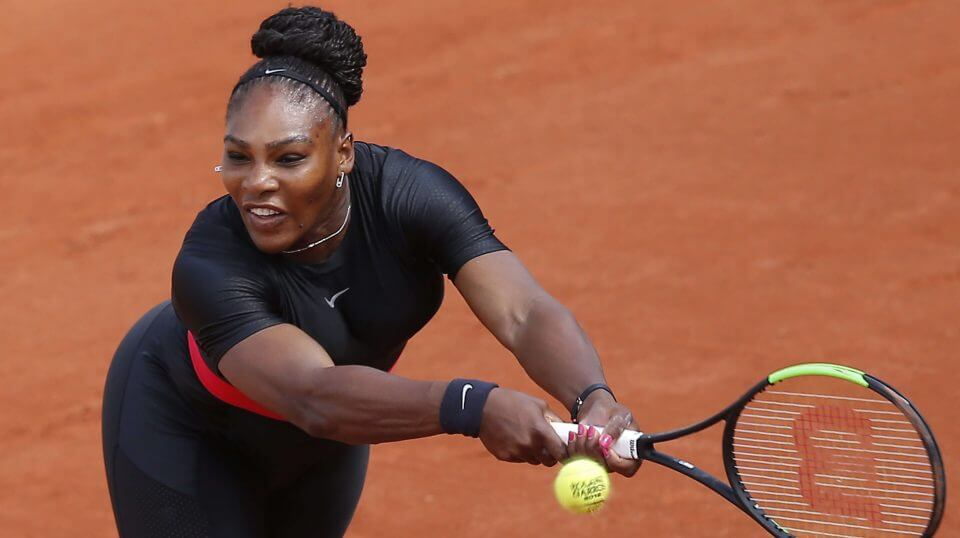 Serena Williams returns a shot against Krystyna Pliskova on May 29 during their first-round match in the French Open.