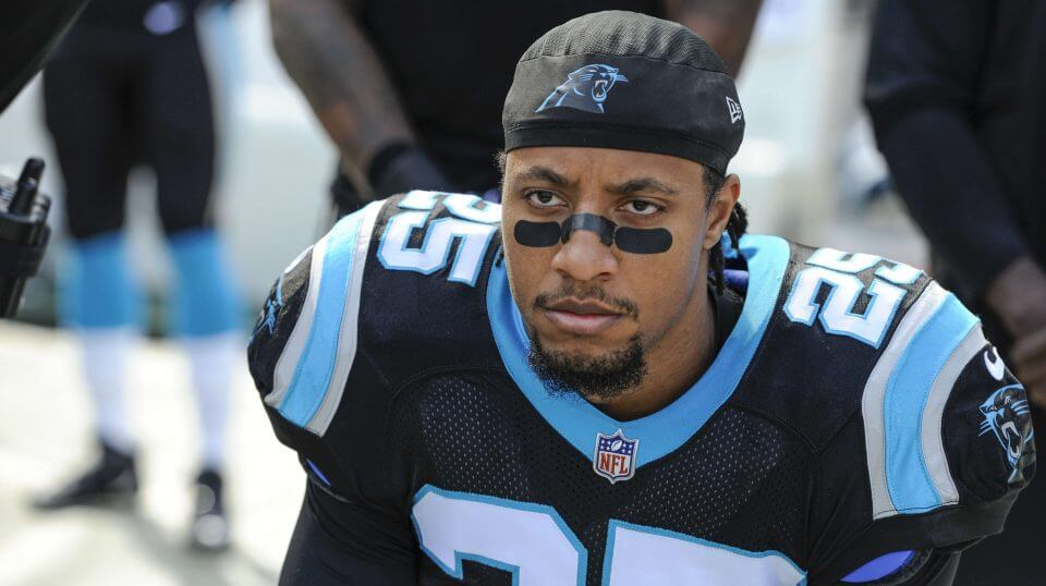 Carolina Panthers strong safety Eric Reid kneels during the national anthem before a Nov. 25 game against the Seattle Seahawks in Charlotte.