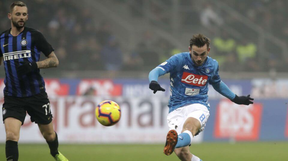 Napoli's Fabian Ruiz, right, misses a scoring chance during a Serie A soccer match between Inter Milan and Napoli, at the San Siro stadium in Milan, Italy, on Wednesday.