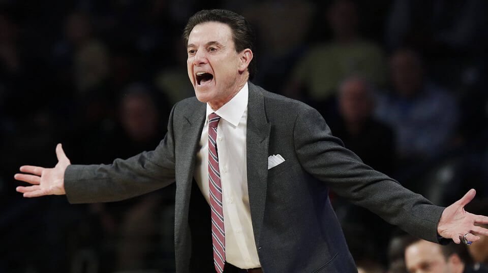 Rick Pitino, then Louisville basketball coach, reacts on the sideline during a 2017 game against Georgia Tech in Atlanta.