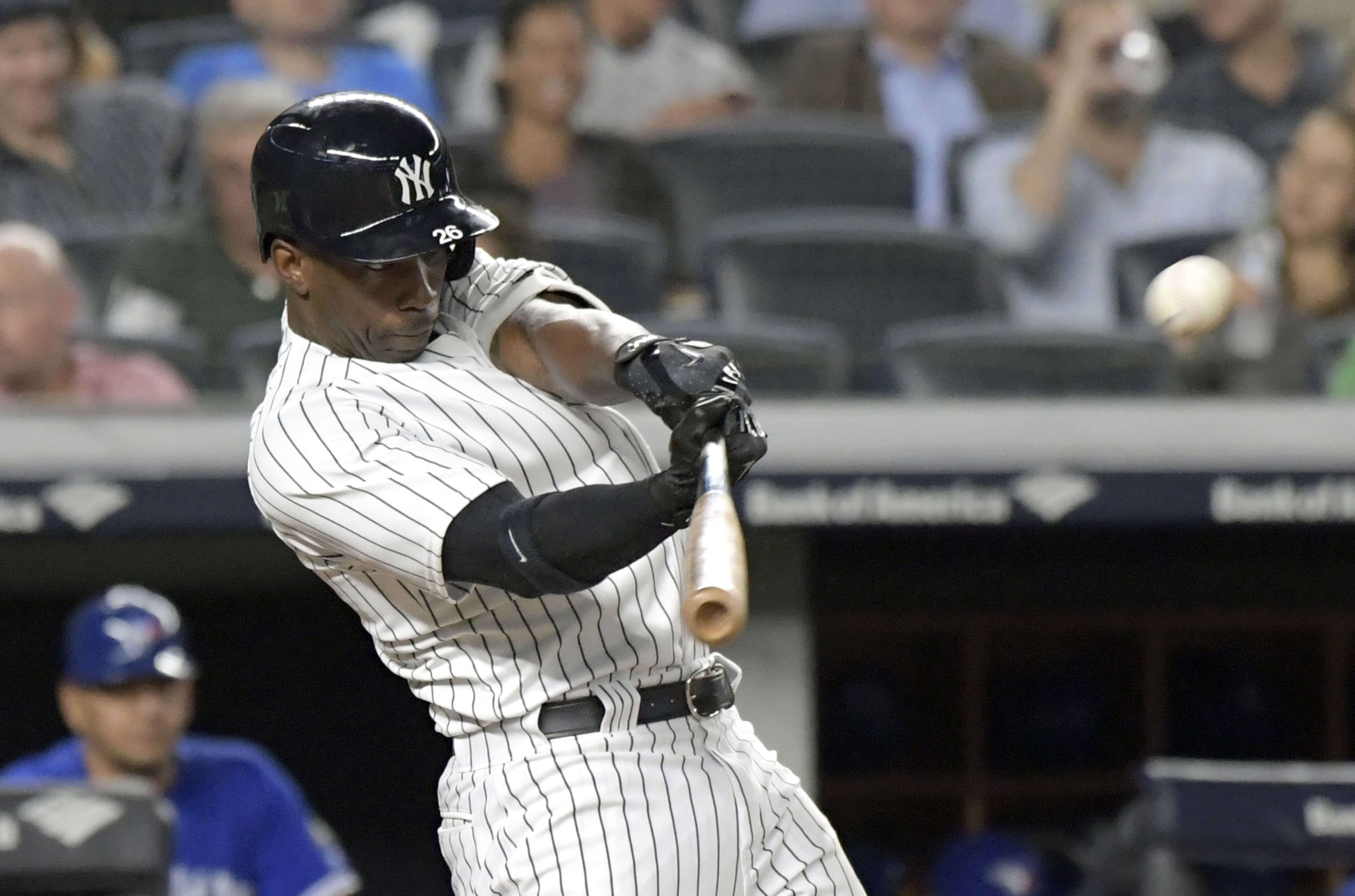 Andrew McCutchen hits a home run for the New York Yankees during a Sept. 14 game against the Toronto Blue Jays at Yankee Stadium.
