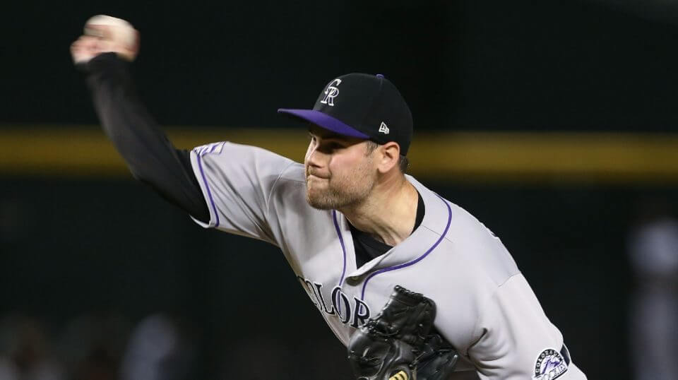Reliever Adam Ottavino of the Colorado Rockies pitches against the Arizona Diamondbacks on July 20 at Chase Field.