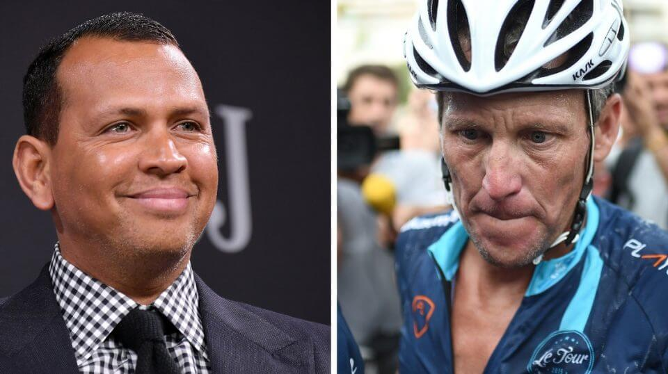 Former MLB star Alex Rodriguez, left, and cyclist Lance Armstrong.