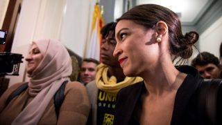Alexandria Ocasio-Cortez at a protest in the Capitol in November.