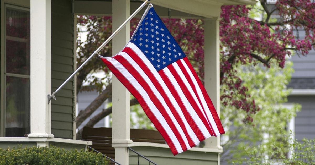 A flag outside an American home