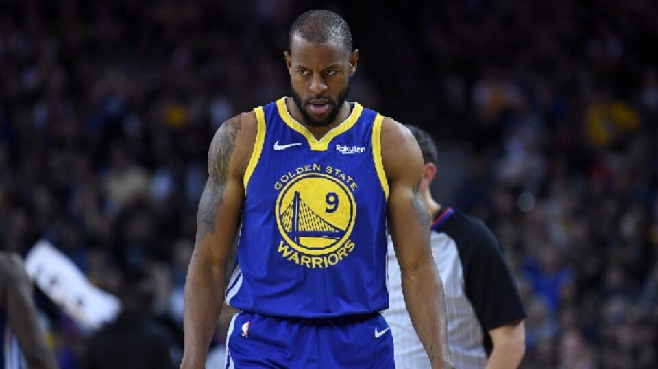 Andre Iguodala of the Golden State Warriors looks on against the Dallas Mavericks during an NBA basketball game at ORACLE Arena on Dec. 22, 2018 in Oakland, California.