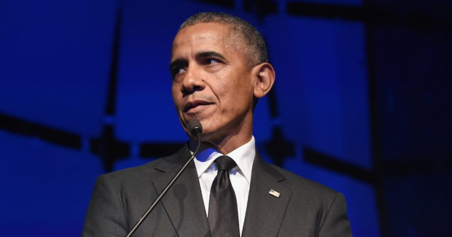 Former President Barack Obama speaks onstage during the 2019 Robert F. Kennedy Human Rights Ripple of Hope Awards on Dec. 12, 2018.