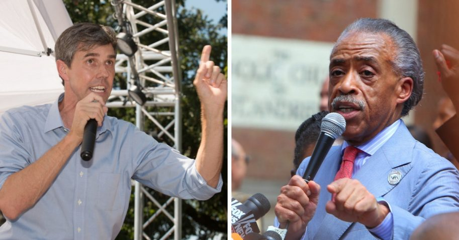 Beto O'Rourke and Al Sharpton speaking at rallies