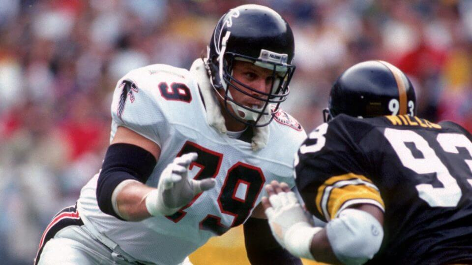 Bill Fralic of the Atlanta Falcons blocks Keith Willis of the Pittsburgh Steelers during a Nov. 4, 1990, game at Three Rivers Stadium.