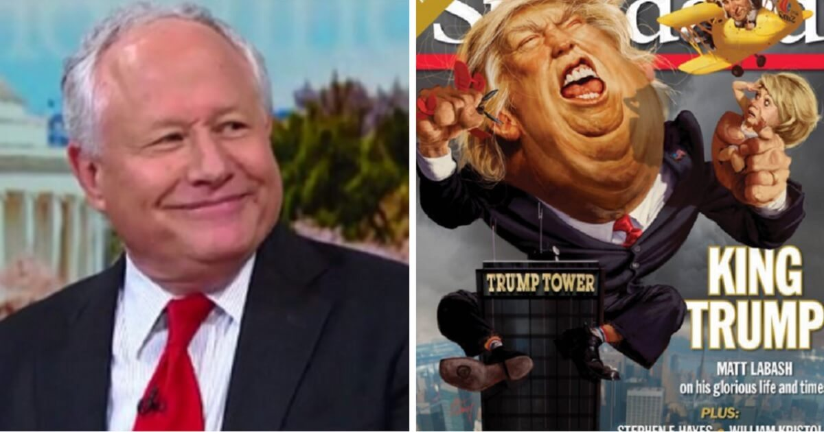 Bill Kristol, left; and a cover of The Weekly Standard, right.