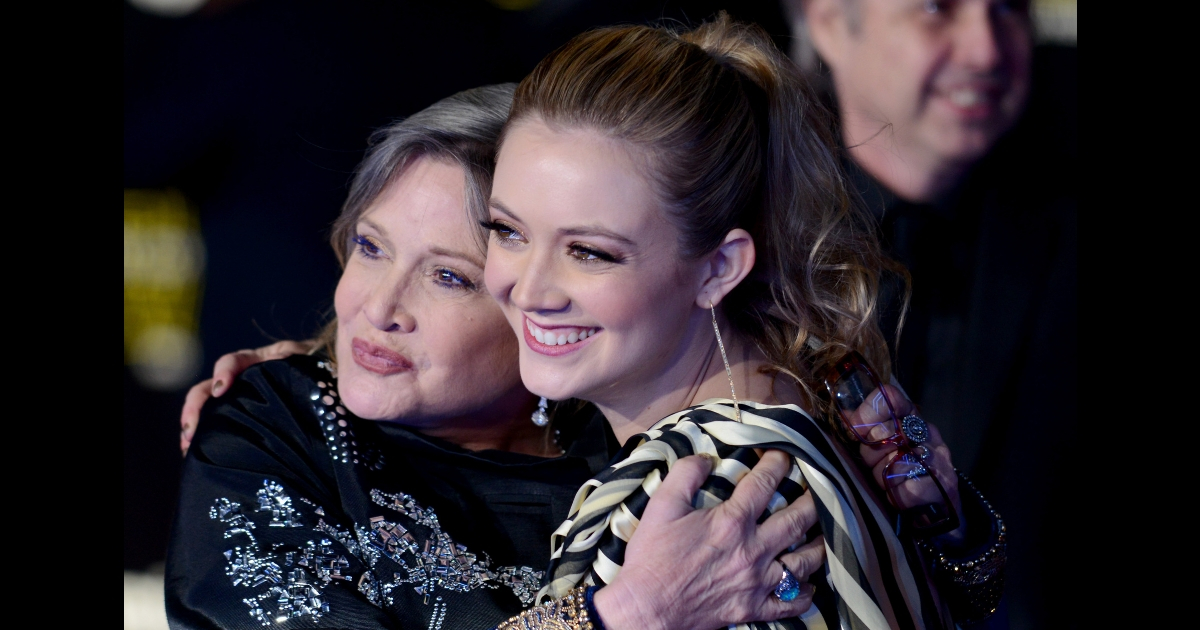 Actress Carrie Fisher and daughter/actress Billie Lourd arrive for the Premiere of Walt Disney Pictures And Lucasfilm's 'Star Wars: The Force Awakens' held on Dec.14, 2015, in Hollywood, California.