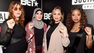 Bob Bland, Linda Sarsour, Carmen Perez and Tamika D. Mallory attend BET's Social Awards 2018 at Tyler Perry Studio on Feb. 11, 2018, in Atlanta, Georgia.