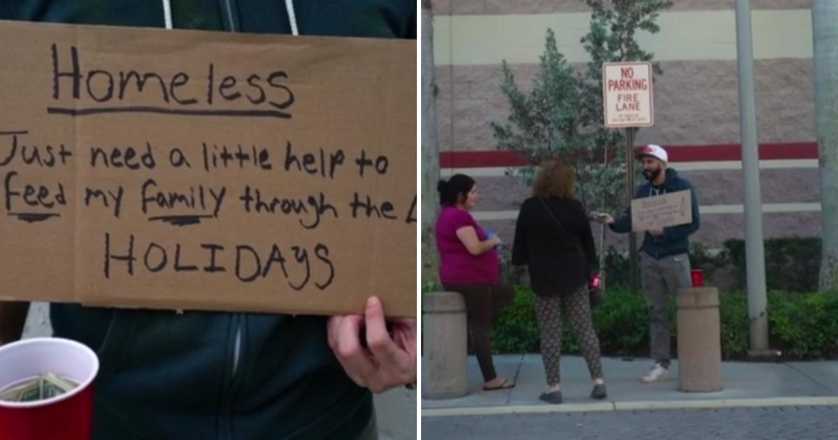 Brian Breach dressed as a homeless man