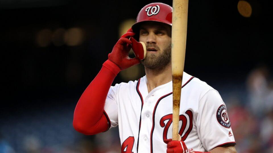 Bryce Harper of the Washington Nationals looks during an Aug. 8 game against the Atlanta Braves at Nationals Park.
