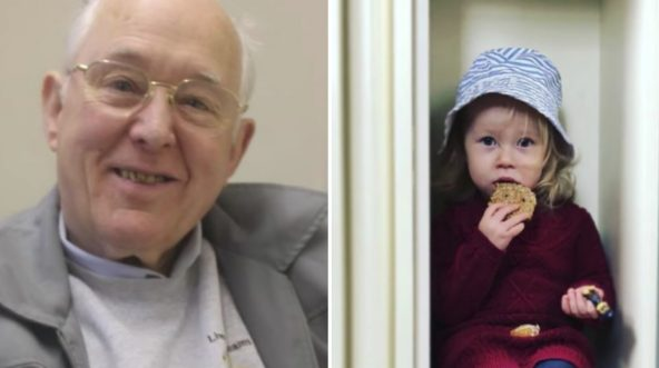 An 80-year-old man and his 2-year-old neighbor.