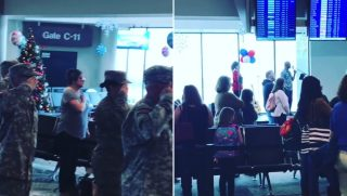 Children of fallen service members honored in airport.
