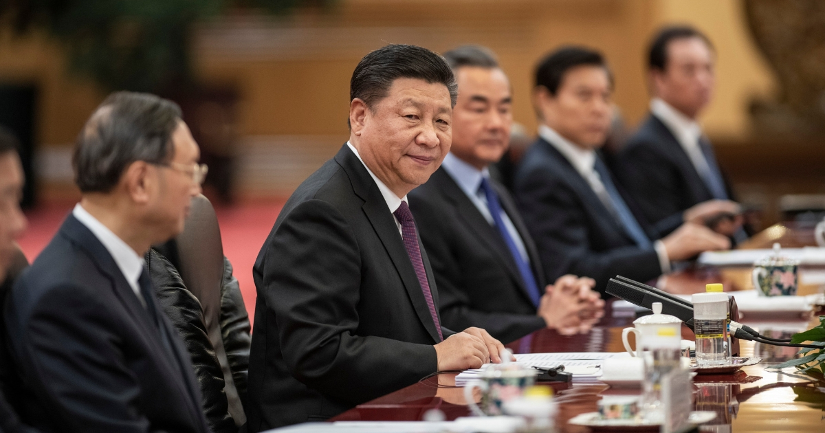 Chinese President Xi Jinping (second from left) and other top members of the country's government during a meeting in Beijing.
