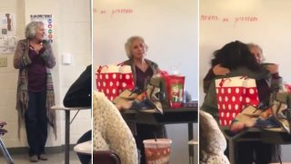A class surprises their teacher for Christmas