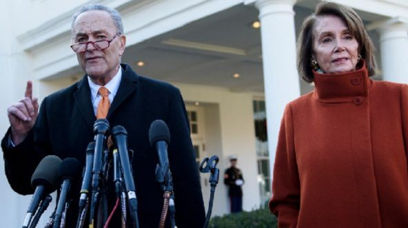 Senate Minority Leader Chuck Schumer and House Minority Leader Nancy Pelosi address the media after meeting with President Donald Trump in the White House on Tuesday.