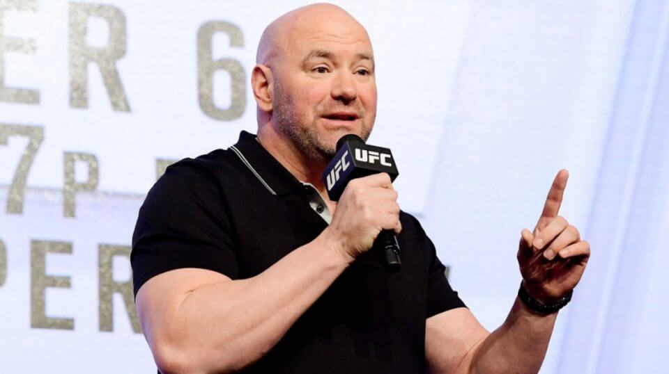 Dana White speaking during a press conference