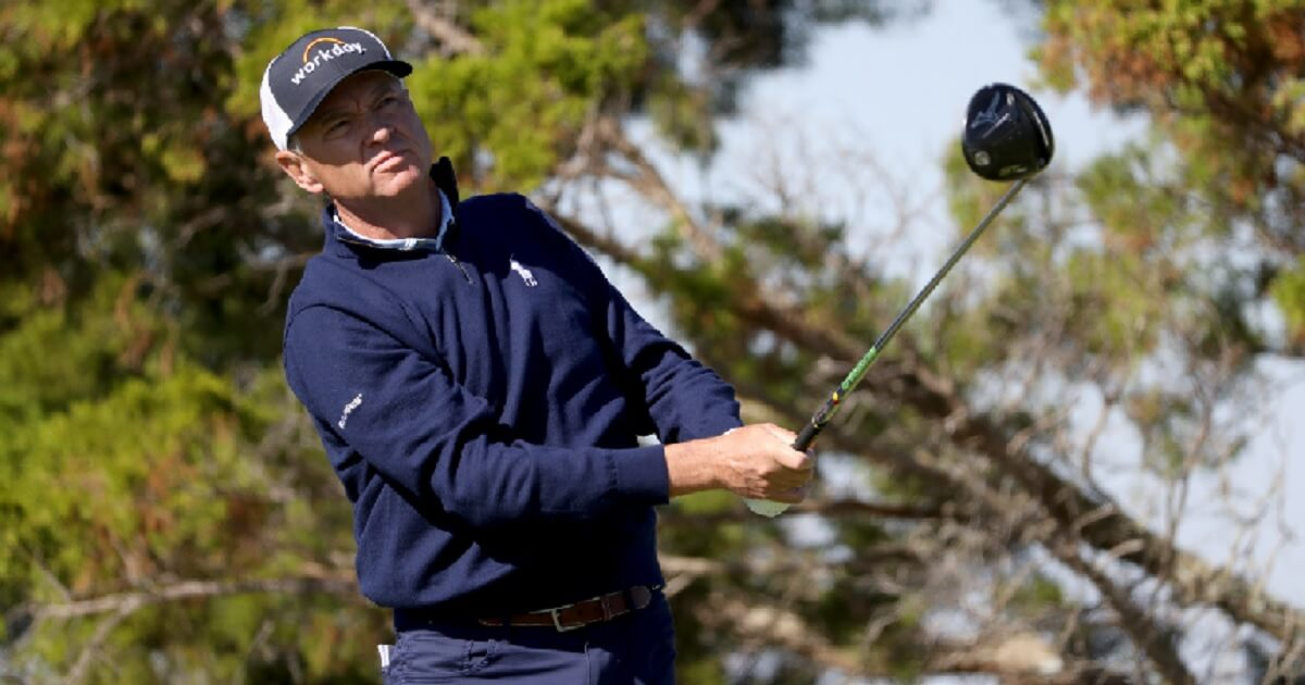Davis Love III tees off at the seventh hole of the RSM Classic on St. Simons Island, Georgia, in November.