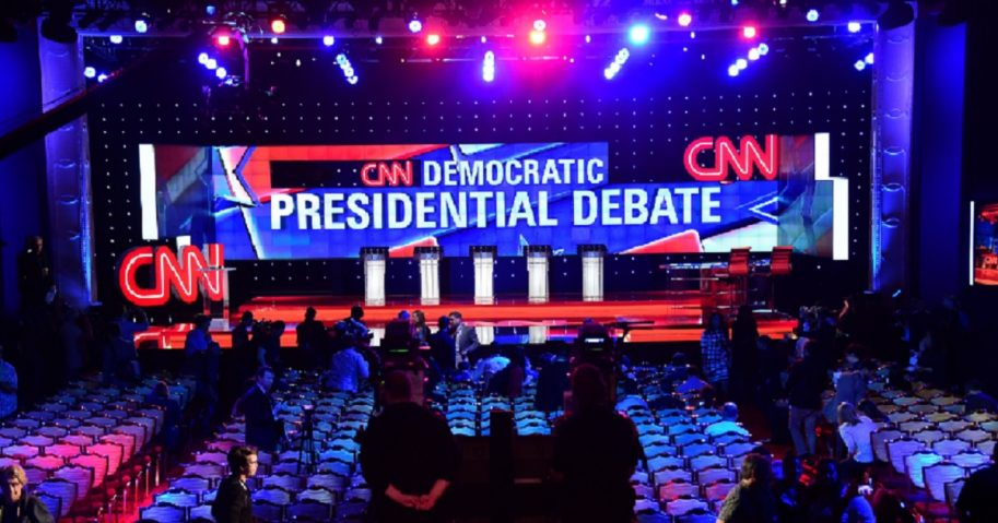Members of the media got an early look at the stage for the Democratic presidential debate of Oct. 13, 2015, which kicked off the Democratic primary contest.